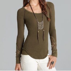FP Synergy crochet cuff Lin sleeve top army green